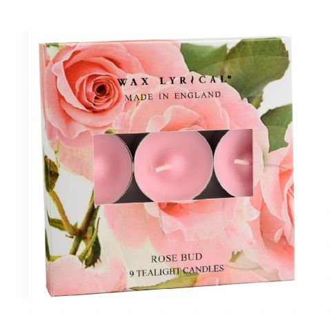 Rose Bud TEALIGHTS Made In England Scented Candles Wax Lyrical (Pack of 9)